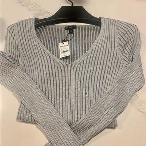 Express Grey Ribbed V-Neck Sweater